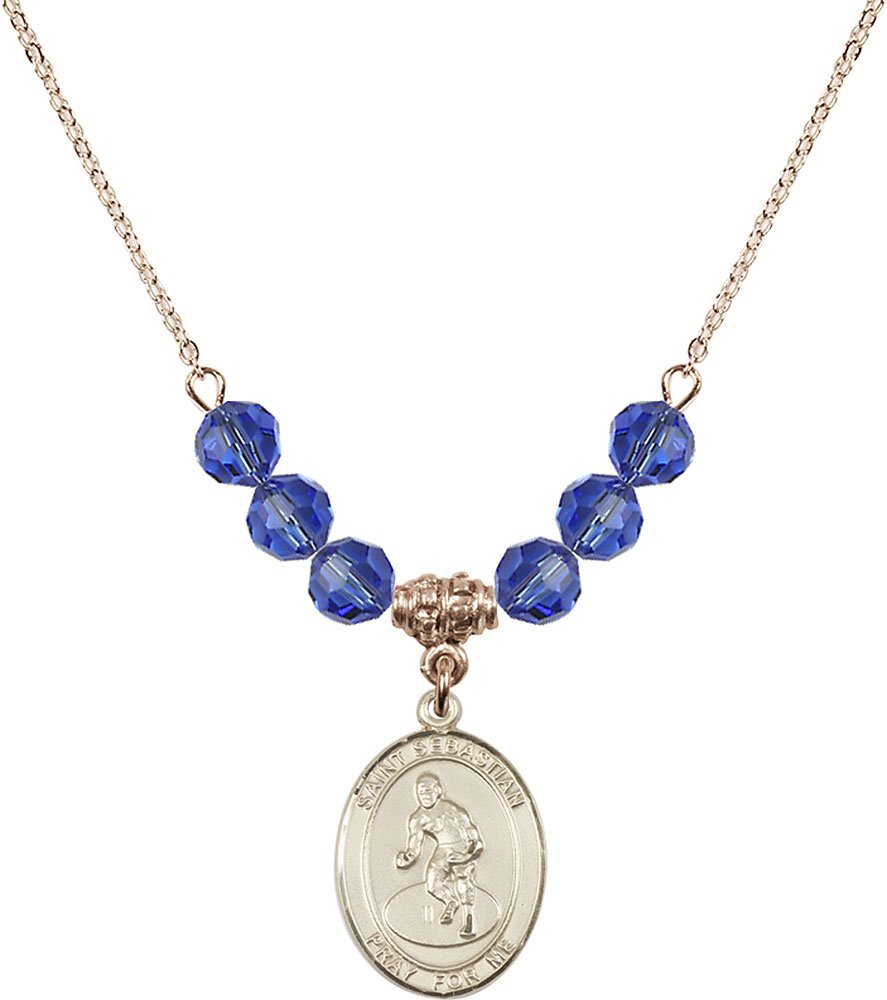 Gold Plated Necklace with 6mm Sapphire Birthstone Beads & Saint Sebastian/Wrestling Charm. by F A Dumont