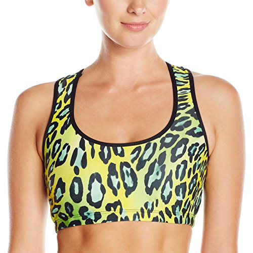 (Gia Mia Dance Women's Remix Print Bra Top Yoga Jazz Hip Hop Costume Performance Team, Neon Cheetah,)