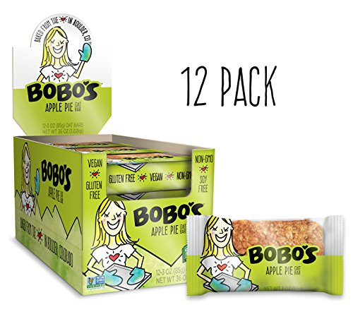 Bobo's Oat Bars (Apple Pie, 12 Pack of 3 oz Bars) Gluten Free Whole Grain Rolled Oat Bars - Great Tasting Vegan On-The-Go Snack, Made in the USA