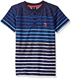 U.S. Polo Assn. Big Boys' Short Sleeve Striped Henley T-Shirt, Slub Black Raft Blue, 10/12