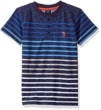 U.S. Polo Assn. Boys' Toddler Short Sleeve Striped Henley T-Shirt, slub Black Raft Blue, 2T