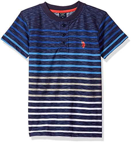 U.S. Polo Assn. Boys' Big Short Sleeve Striped Henley T-Shirt, slub Black Raft Blue, 18
