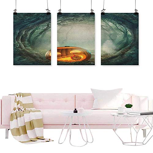 J Chief Sky Halloween,Wall Art Decor Drawing of Scary Halloween Pumpkin Enchanted Forest Mystic Twilight Party Art Triptych Modern Wall Pictures W24 x L48 x3pcs ()