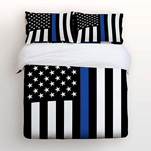 Beauty Decor American Duvet Cover Set Law Enforcement Thin Blue Line USA Flag Microfiber Bedding Sets with Zipper and Corner Ties (4 Pcs, Queen)