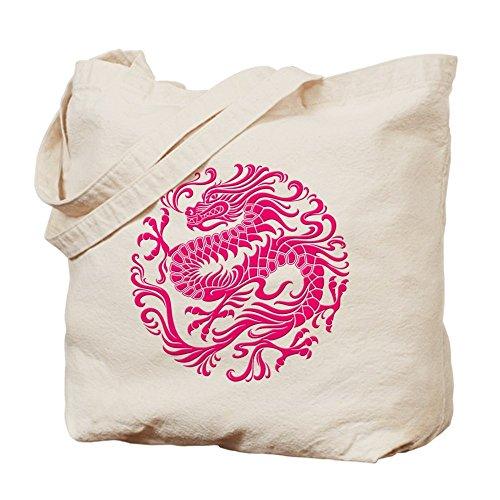 CafePress, motivo: drago cinese tradizionale rosa cerchio–Borsa di tela naturale, panno borsa per la spesa
