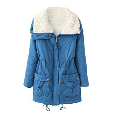 Luckycat Damen Warm Lange Mantel Pelz Turn down Kragen Jacke