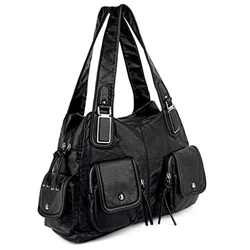 UTO Women Handbag PU Leather Multi Pockets Washed Shoulder Bag Black