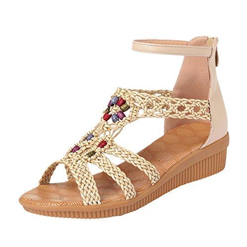 chengniu Sandalias del ms retro Peep-toe Flat Buckle Sandals Beige