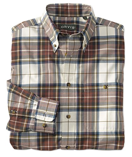 Orvis Signature Twill Long-Sleeved Shirt/Tall, Cream Plaid, Large