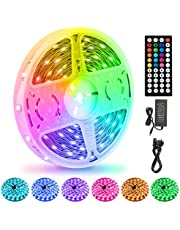 LED Strips Lights 15M/50Ft, Flexible Color Changing 5050 RGB 450LEDs Light Strips with Remote Controller 24V Adapter, Non-Waterproof LED Tape Light for Bedroom, Kitchen, DIY Decoration