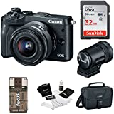 Canon EOS M6 Mirrorless Camera 15-45mm Lens & EVF-DC2 Viewfinder(Black) + Bundle