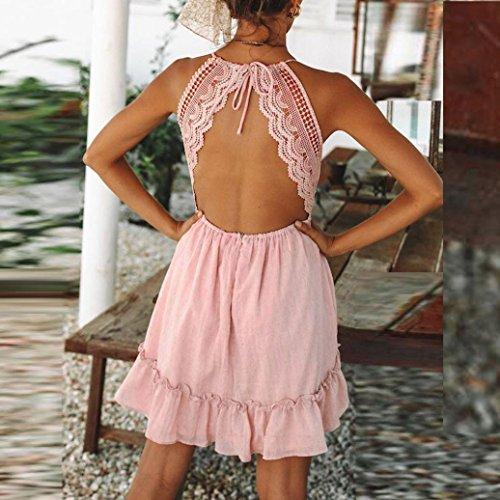 Eleganti sera abito schienale estate Abiti pizzo partito corto Vestiti YanhooDonne Donna Rosa2 Sera Croce Abito bodycon Estivi mini sexy q8wwExOZv