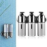 Alicenter(TM) Stainless Steel Bathroom Shampoo Soap Dispenser Wall Mounted 3 Heads Holder