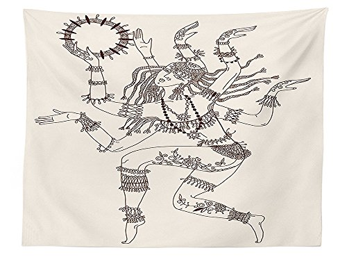 vipsung Yoga Decor Tablecloth Dancing Multiple Armed God Pattern Eastern Ethnic Female Sublime Woman Deity Illustration Rectangular Table Cover for Dining Room Kitchen Cream Brown
