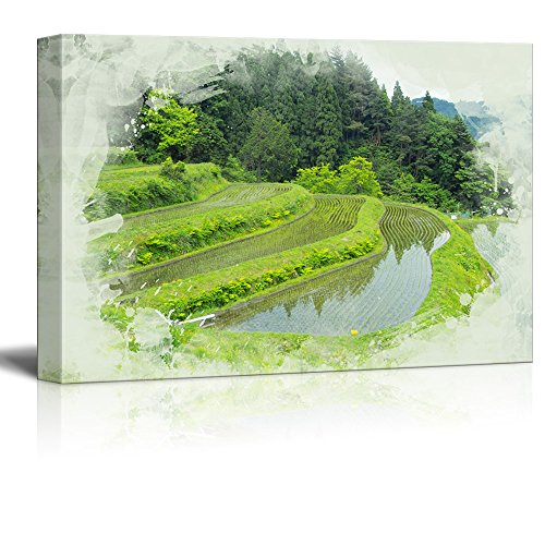 wall26 - Canvas Print Landscape Wall Art - Terraced Vineyards - Gallery Wrap Modern Home Decor | Ready to Hang -32x48 inches]()