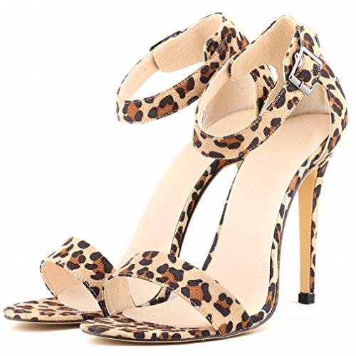 HooH Tacón Leopardo de Zapatos alto Sandalias Correa Hebilla Toe Mujer tacón de tobillo Peep Verano 4Bq4nHrf