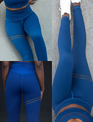 SEASUM Women Striped Yoga Leggings High Waist Slimming Pants Waistband Workout Sport Fitness Gym Tights Fit Dry