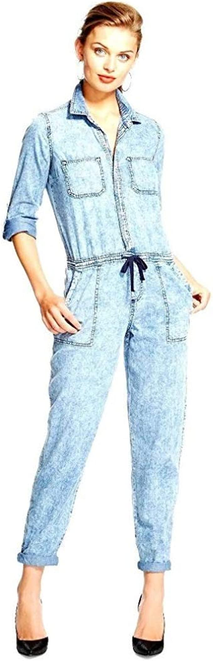 Roll Sleeve Drawstring Waist Light Denim Blue Jumpsuit Rompers | Stylish Denim Fashion for Women