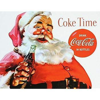 coca cola coke santa claus christmas tin sign. Black Bedroom Furniture Sets. Home Design Ideas