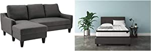 Signature Design by Ashley - Jarreau Contemporary Upholstered Sofa Chaise Sleeper, Gray & M69731 Mattress, Queen, White