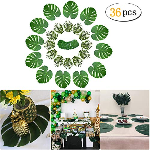 36 Pcs 3 Kinds Tropical Palm Leaves Hawaiian Artificial Green Jungle Leaves Decorations for Hawaiian Tropical Party Decorations,Jungle Luau Theme Supplies,Beach Wedding Party Table Decorations]()