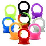 "9 Pair Silicone Flexible Thin Ear Plugs Tunnels Double Flared Expander Ear Gauges Piercing (Gauge=1""(25mm))"
