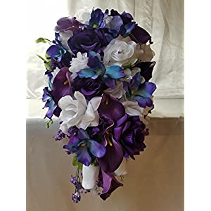 Purple White Rose Calla Lily Orchid Cascading Bridal Wedding Bouquet & Boutonniere 43