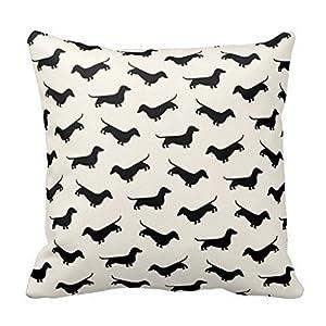 decorlution dachshund weiner dog pattern in black throw pillow cover