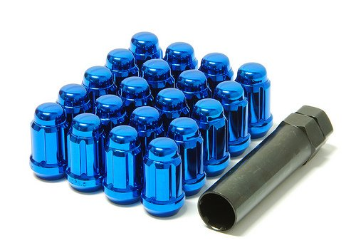 - Muteki 41886U Chrome Blue 12mm x 1.5mm Closed End Spline Drive Lug Nut Set with Key, (Set of 20)