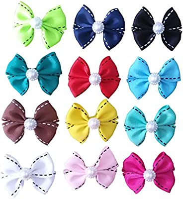 Amazoncom Pet Show Dotted Line Dog Hair Bows With Clips For Small