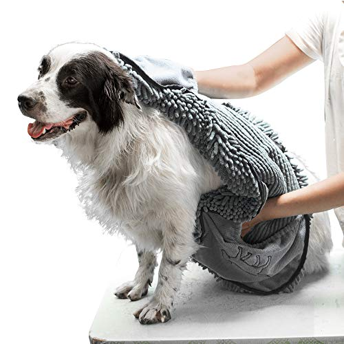 Tuff Pupper Large Dog Shammy Towel | Ultra Absorbent | Durable 35 x 15 Size for Dogs of All Breeds | Quick Drying Chenille Fabric | Designed for Indoor and Outdoor Use | Machine Washable (XL, Grey)