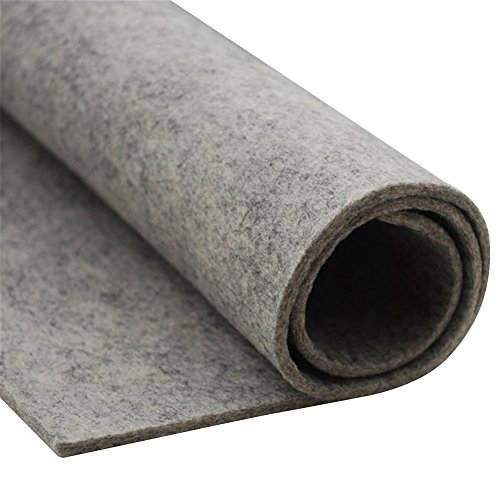 HomeModa Studio Thick Wool Felt Fabric Sheet,Designer Wool Felt by The Yard,3mm and 5mm Thicknesses (Light Grey, 5 mm) (100 Wool Felt Fabric By The Yard)