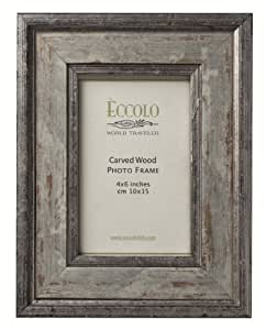 Eccolo Fashion Antiqued Carved Wood Frame, Argento, 4 by 6-Inch