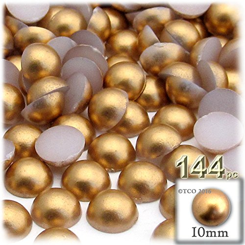 144-pc Pearl finish Half Dome Beads, Round, 10mm, Golden Caramel Brown (Finish Caramel Medium)