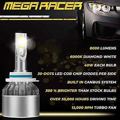 Mega Racer C6 Series HB4 9006 LED Headlight Bulbs HB3 9005 LED Headlight Bulbs Combo High Beam And Low Beam CREE COB C6 Hi/Lo Lights 6000K Ultra Bright White LED Headlights 16000 Lumens: Automotive