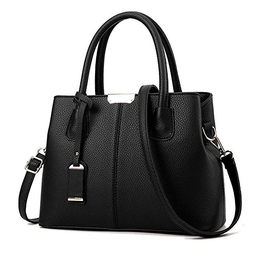 - SYXLCYGJ Women Top Handle Satchel PU Handbags Shoulder Bags Tote Purse Messenger Bag (black)