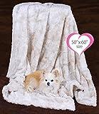 Peluche Plush Luxury Bunny Cuddle Dog/Pet Blanket (50'' x 60'' Throw Blanket, Cream)