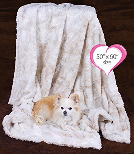 Peluche Plush Luxury Bunny Cuddle Dog/Pet Blanket (50'' x 60'' Throw Blanket, Cream) by Peluche Plush Collection