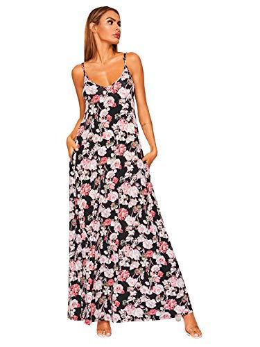 Verdusa Women's Casual Sleeveless Deep V Neck Sexy Maxi Long Dress Cami Floral2 - Dress V-neck Cami