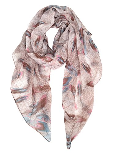 GERINLY Scarf Wrap - Colorful Feathers Print Shawls Womens Soft Warm Scarves (Chocolate Brown)