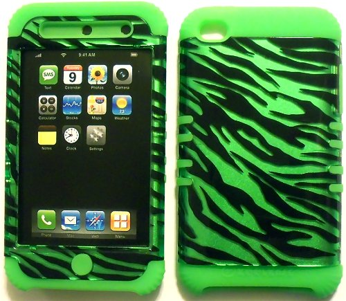 Green Zebra on Lime Silicone Skin for Apple ipod Touch iTouch 4G 4 Hybrid 2 in 1 Rubber Cover Hard Case
