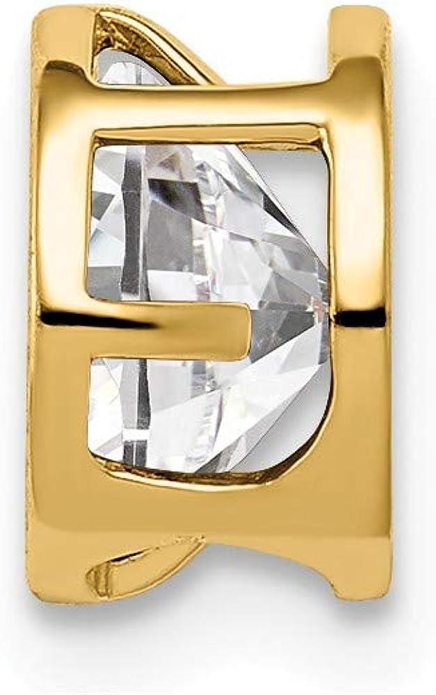 Solid 14k Yellow Gold 6mm Cubic Zirconia CZ Bezel Pendant Charm 6mm