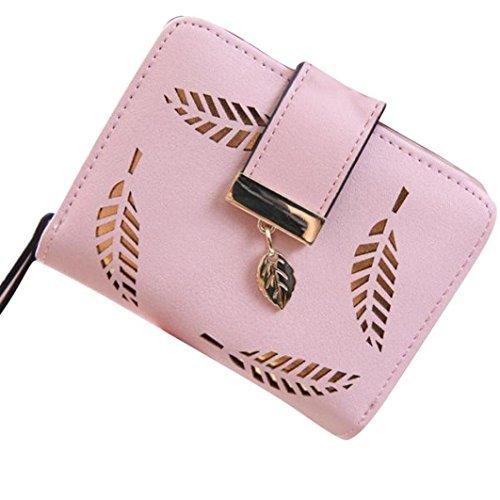 a-goo ® donne foglia Bifold portafoglio borsa small Lady breve borsetta pochette in pelle ID finestra moneta carta (rosa)