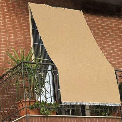 Beige 140x250 cm Tenda da sole tessuto resistente per balcone con anelli lavabile a caduta