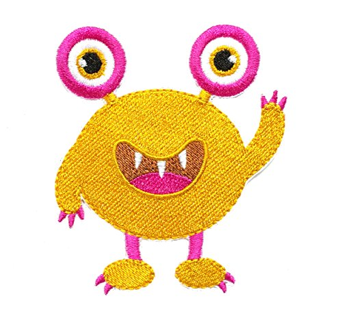 InspireMe Family Owned Cute Gold Monster Embroidered Iron On Patch 3.5