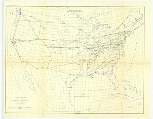 18 x 24 Canvas 1896 USA old nautical map drawing chart of 5. Map showing longitude statious and connections determined by electric telegraph between 1846 and June From US Coast & Geodetic Survey x1209 - 1896 Canvas