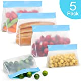MMTX Stand-up Freezer Bags 5 Pack Reusable Storage Bags Leakproof Extra Thick Ziplock Bag for Food Lunch Snacks Fruits Travel Organization-3 Reusable Sandwich Bags and 2 Reusable Snack Bags