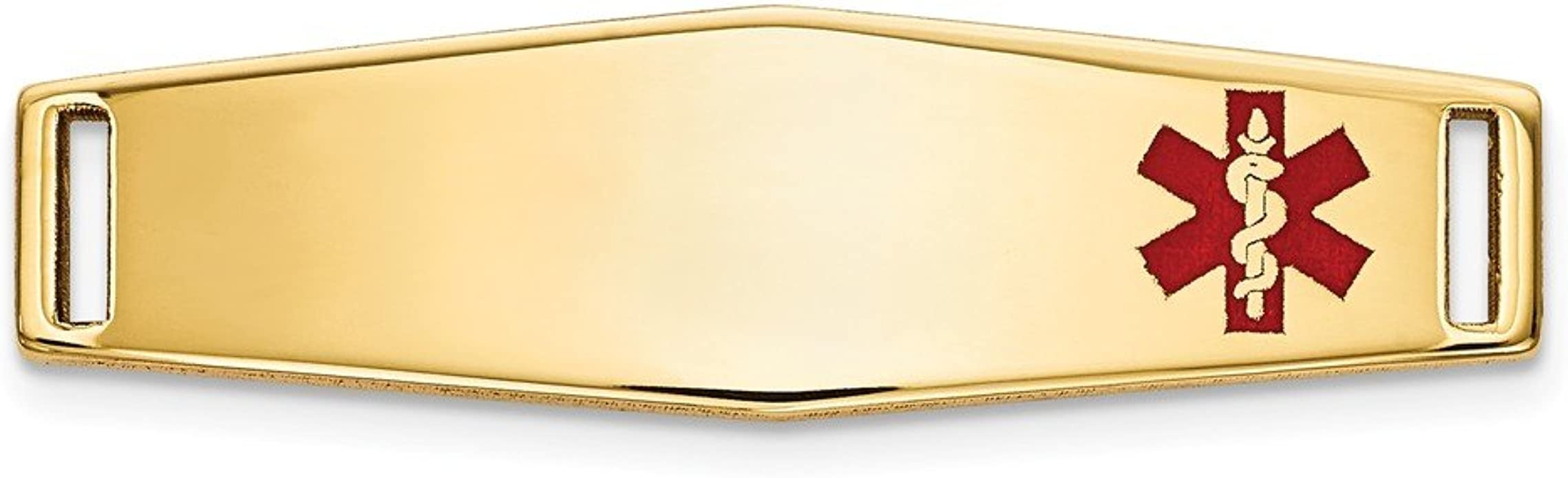 Mia Diamonds 14k Yellow Gold Heart-Shaped Polished Enameled Engravable Medical Jewelry Pendant
