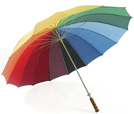 eBuyGB 16 Panel Rainbow Coloured Wedding/Golf Umbrella Paraguas clásico, 130 cm, (