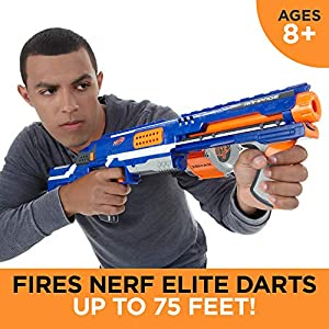 Nerf Rampage N-Strike Elite Toy Blaster with 25 Dart Drum Slam Fire and 25 Official Elite Foam Darts for Kids, Teens, and Adults